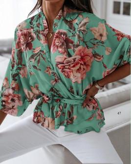 Γυναικεία μπλούζα με κορδόνι στη μέση 5033 μέντα