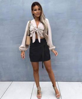 Γυναικεία εντυπωσιακή κοντή φούστα 55598 μαύρη