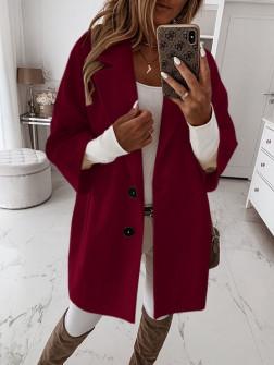 Γυναικείο παλτό με 7/8 μανίκι και φόδρα 3809 μπορντό