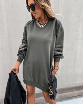Γυναικείο μπλουζοφόρεμα με φερμουάρ 3911 χακί