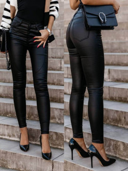 Γυναικείο δερμάτινο παντελόνι 999022