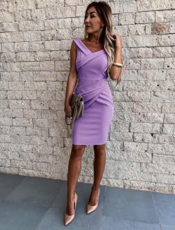 Γυναικείο εφαρμοστό φόρεμα 5231 λιλά