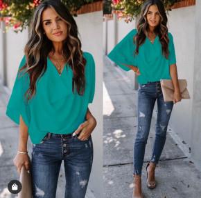 Γυναικεία μπλούζα με χαλαρό ντεκολτέ 50811 τυρκουάζ