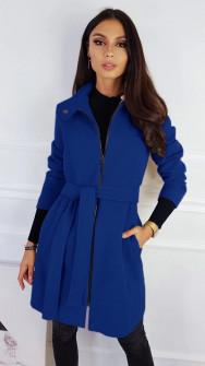 Γυναικείο παλτό με φερμουάρ και ζώνη 3829 μπλε