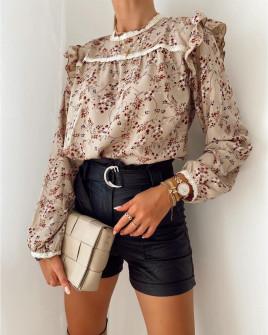 Γυναικεία μπλούζα με print 5341 μπεζ