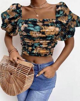 Γυναικεία μπλούζα με φουσκωτά μανίκια 3360 μαύρη
