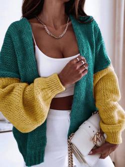 Γυναικεία δίχρωμη ζακέτα 00889 πράσινο/κίτρινο