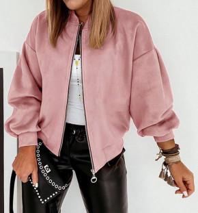 Γυναικείο σουέτ μπουφάν με φερμουάρ 5283 ροζ