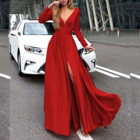 Γυναικείο μακρύ φόρεμα 37421 κόκκινο