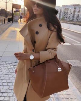 Γυναικείο παλτό με κουμπιά και ζώνη 18915 καμηλό