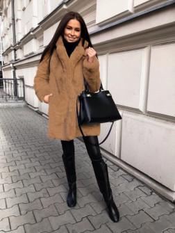 Γυναικείο χνουδωτό παλτό 21131 καμηλό