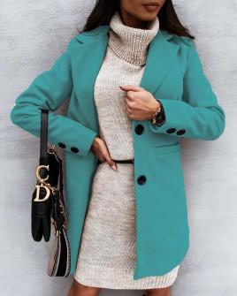 Παλτό με φόδρα 8041 τυρκουάζ