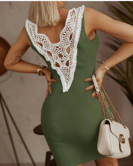 Γυναικείο φόρεμα με εντυπωσιακή δαντέλα 5583 χακί