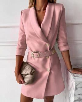 Γυναικείο κομψό φόρεμα με ζώνη 3846 ροζ