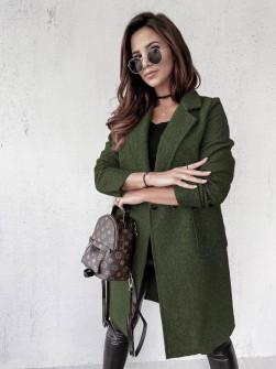 Γυναικείο μπουκλέ παλτό 20055 σκούρο πράσινο