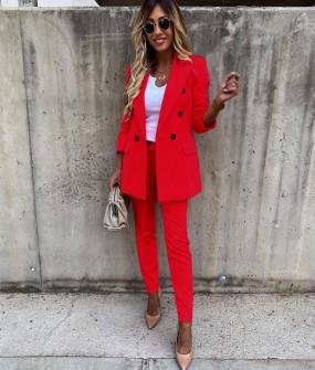 Γυναικείο σετ σακάκι και παντελόνι 5927 κόκκινο
