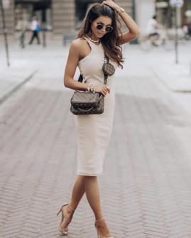 Γυναικείο εφαρμοστό φόρεμα 13621 μπεζ