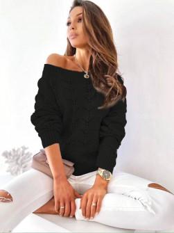 Γυναικείο μονόχρωμο πουλόβερ 8022 μαύρο