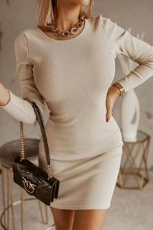 Γυναικείο φόρεμα με εντυπωσιακή πλάτη 5562 μπεζ