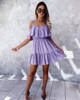 Γυναικείο κοντό κλος φόρεμα 5700 λιλά