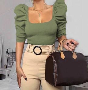 Γυναικεία μπλούζα με φουσκωτό μανίκι 2405 σκούρο πράσινο