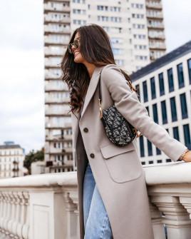Γυναικείο κομψό παλτό 8680 μπεζ