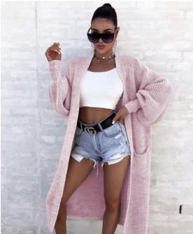 Γυναικεία μακριά ζακέτα 2031 ροζ
