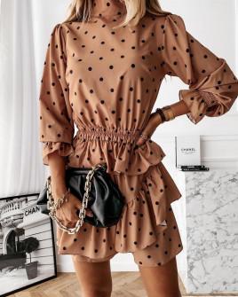 Γυναικείο φόρεμα πουά 4288 καμηλό