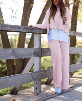 Γυναικείο σετ μπλούζα και παντελόνι 5524 ροζ