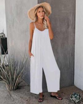 Γυναικεία χαλαρή ολόσωμη φόρμα 5165 άσπρη