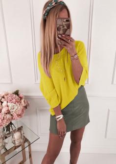 Γυναικεία πλεκτή μπλούζα 4440 κίτρινο