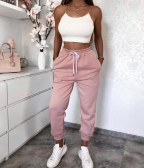 Γυναικείο αθλητικό παντελόνι με κορδόνια 4030 ροζ