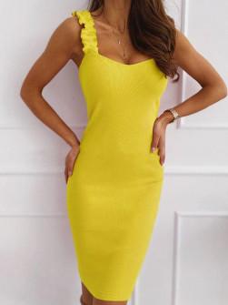 Γυναικείο φόρεμα με εντυπωσιακές τιράντες 5074 κίτρινο