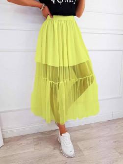 Γυναικεία φούστα με τούλι 5607 κίτρινη