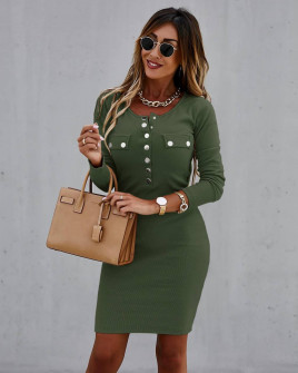 Γυναικείο εφαρμοστό φόρεμα με κουμπιά 6080 σκούρο πράσινο