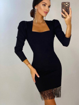 Γυναικείο φόρεμα με κρόσσια 5600502 μαύρο