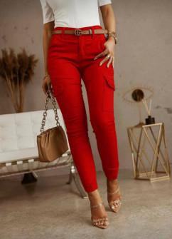 Γυναικείο παντελόνι με τσέπες 5599 κόκκινο