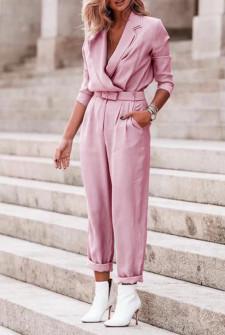 Γυναικεία ολόσωμη φόρμα με ζώνη 5507 ροζ