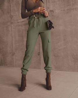 Γυναικείο παντελόνι με ζώνη 5634 χακί