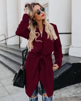 Γυναικείο παλτό με μάκρος κάτω από το γόνατο 5291  μπορντό