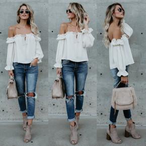 Γυναικεία μπλούζα με λαστιχένιο ντεκολτέ 3168 άσπρη