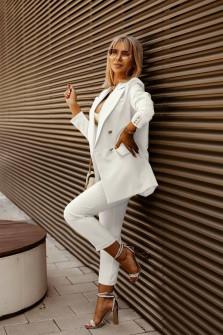 Γυναικείο σετ σακάκι και παντελόνι 5911 άσπρο