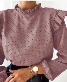 Γυναικεία μπλούζα πουά 5315 πούδρα