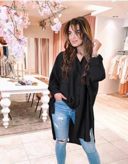 Γυναικείο σατέν πουκάμισο 5535 μαύρο