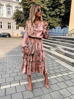 Γυναικείο σατέν φόρεμα μίντι 9571 πούδρα