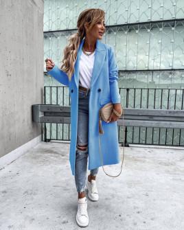 Γυναικείο εφαρμοστό παλτό με φόδρα 5972  γαλάζιο