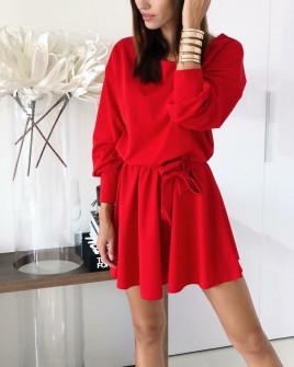 Γυναικείο χαλαρό φόρεμα με ζώνη 3140 κόκκινο