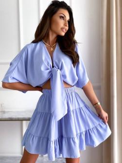 Γυναικείο σετ πουκάμισο και φούστα 14824 γαλάζιο
