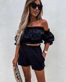 Γυναικείο σετ σορτσάκι και μπλούζα 21462 μαύρο