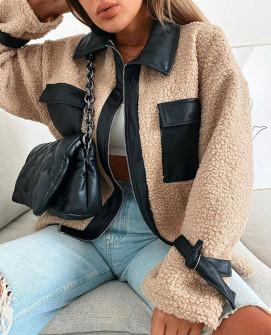 Дамско палто с кожа 1707